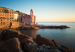 Tellaro (Philipp Klinger Photography) Tags: city longexposure travel italien blue houses light sunset sea vacation sky italy sun house holiday seascape color reflection tower church water colors yellow rock architecture reflections landscape gold golden evening town nikon rocks colorful europa europe long exposure mediterranean italia village pastel liguria horizon tripod filter nd colourful buoy mediterraneansea d800 pastell lerici tellaro ligurien nd3