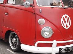 A Red Split Screen Bus (cycle.nut66) Tags: old red 2 white bus wheel vw four ben screen chrome micro type split 1962 lowered pon alloy thirds oltmpus epl1 mzuiko