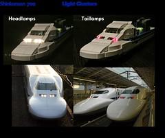 Lego Shinkansen WIP Light Clusters (michaelgale) Tags: lego moc trains shinkansen 700 wip lights led headlight taillight