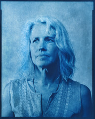 Bluesy Suzy (westvillagebob) Tags: cyanotype 8x10 portrait film alternative suzy view camera kunz grayhaired