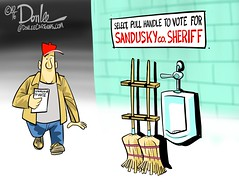 1016 sheriff vote cartoon (DSL art and photos) Tags: editorialcartoon donlee election vote sanduskycounty sheriff kyleovermeyer christopherhilton jimconsolo