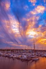 Brooding Sky over Lymington Marina (Simon Downham) Tags: lymington england unitedkingdom gb marina cloud clouds dark darkening sky rain yacht yachts