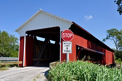 Scipio Covered Bridge (1) (Jake (Studio 9265)) Tags: indiana covered bridge loop usa united states america rural red wood stop sign weight limit 5 tons grass growth road scipio fall 2016