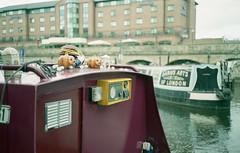 FILM - Almost Hallowe'en (fishyfish_arcade) Tags: canal barge pumpkin halloween olympus35rc agfavistaplus200 istillshootfilm filmphotography filmisnotdead analogphotography 35mmfilm