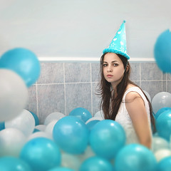 Birthday girl (Tedieris) Tags: self portrait girl balloons party birthday surreal selfportrait blue white selfportraiture