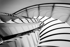Down Stairs (sophiaspurgin) Tags: stairs monochrome bw blackandwhite reflections chrome curve