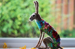 flowerbomb hare (adore62) Tags: hare felted feltedfido embroidered needlefelted felt