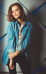 2762-1 (i.gorshkov) Tags: girl portrait fashion look female studio light color jeans jacket style hair indoor pretty posing people model cute interior blue sight eyes lips