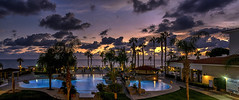 Sunset Serenade (Pete Watson Photography) Tags: sunset afterglow goldenhour colour paphos cyprus evening twilight beach water sky blue light cloud trees landscape