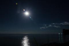 Night flare (dharder9475) Tags: 2016 baileysharbor blue doorcounty greenbay lake lakemichigan moon moonrise night privpublic starpattern water wisconsin