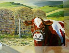 """Cow and Hay,"" Acrylic painting by Harry Gray, WSC Humanities building (ali eminov) Tags: indoors wayne nebraska campus colleges waynestatecollege artist painters harrygray paintings acrylicpaintings cowandhay"