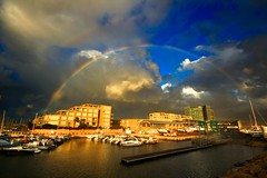 Rainbows over Marina-Hertzelia - taken yesterday (Lior. L) Tags: rainbowsovermarinahertzelia rainbows marinahertzelia rainbow marina hertzelia nature sea travel travelinisrael powerfulnature sky clouds reflection buildings seascapes landscape israel