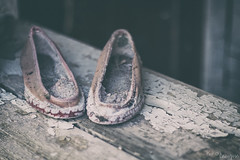 Forgotten (kar1187) Tags: forgotten derelict slippers cotton old wood paint cracks decay dark scary halloween light dof grey abandoned highlands scotland door open 2016