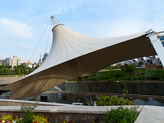 Slanted Conical Canvas Shade (Kombizz) Tags: 1150738 kombizz tehran iran architecture bridge aboatashpark abbvaatashpark waterandfirepark urbanpark tabiatbridge tabiatpedestrianbridge poletabiat naturebridge modaresexpressway footbridge leilaaraghian gonbadminaplanetarium abbasabad slantedconicalcanvasshade