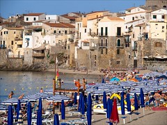 PA136820 Italy Sicily Cefalu (Dave Curtis) Tags: 2013 cefalu em5 europe italy omd olympus sicily blue white umbrellas