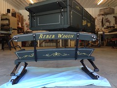 1913 Reber Wagon Seat & Box (sherrylpaintz) Tags: sherrylpaintz 2016 painting painter reberwagonworks wagon runninggear wagonseat wagonwheels greatlakesmighiganinternational glmifarm wagongruber workshorse wagonspring vintage antique pinstripe scrollwork striping wheelbarrow