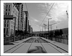 Dronning Eufemias gate (frode skjold) Tags: dronningeufemiasgate bjrvika oslo norge norway street streetphotography urban fujifilmx20 photoshop14 blackwhite bw monochrome barcodeoslo barcode concrete