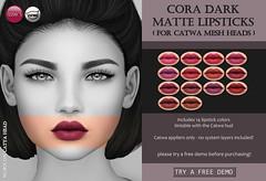 Cora Dark Matte Lipsticks (at Uber) (Izzie Button (Izzie's)) Tags: uber skin shape makeup applier catwa