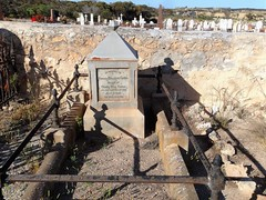 Streaky Bay cemetery. Unusual tin and concrete headstone for Francis  Cotton who was buried in 1883. (denisbin) Tags: eyrepeninsula streakbay flinders bay coast jetty pier councilchamber cemetery walledcemetery dragonboatclub dragonboats gumtree eucalyptus