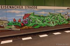 Graphity im Untergrund (Sockenhummel) Tags: graffiti ubhfeisenacherstrase untergrund tunnel ubahn bahnhof station bvg eisenacherstrase fuji x30 fujifilm finepix fujix30