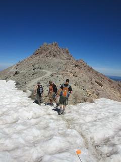 Hikers en route to Lassen Peak summit