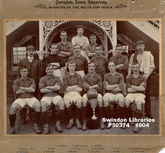 1904: Swindon Town Reserves (Local Studies, Swindon Central Library) Tags: 1903 1904 1900s edwardian swindon men team football stfc fc swindontown footballclub anon donation bw soccer samallen allen howell day toombs lewis major beals brown archer bullock haydon fox bown ludlow edwards
