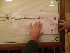 Thuxton signalbox preparations for Garvestone level crossing signalling. (P Way Owen) Tags: thuxton signalbox diagram