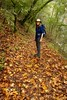 Annette walking through big -leaf maple leaves (openspacer) Tags: acer jasperridgebiologicalpreserve jrbp leaf maple sapindaceae trail