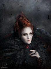 The Aviculturist ({jessica drossin}) Tags: portrait art halloween birds clouds photography witch menacing fine feathers redhead textures wicked macabre crow redhair raven actions overlays jessicadrossin wwwjessicadrossincom jdbeautifulworldcollection