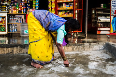 India 2014 (inacio.marcos) Tags: street woman india signs color shop painting religious paint god religion pray salt sugar hills ritual nandi