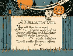 A Halloween Wish (Alan Mays) Tags: old blue trees 1920s houses orange black halloween night vintage paper cards typography 1930s scary holidays faces antique smoke pumpkins fences illustrations pumpkinhead ephemera climbing nighttime wishes heads postcards type artdeco moons greetings poems fonts printed chimneys jackolanterns typefaces greetingcards october31