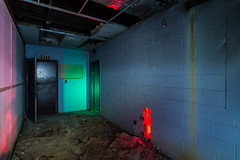 Exit Sealed (GnarlyRelics) Tags: door longexposure nightphotography light red urban usa lightpainting building green abandoned night america painting photography hall lowlight nikon long exposure paint texas hole fort decay tx urbandecay flash low structure hallway tokina explore urbanexploration seal worth exploration gel f28 abandonment fortworth strobe cto sealed debri d7100 1116mm