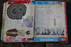 July 24, 2013 Grandma's handwriting journal pages (Crazyquilter) Tags: collage journal visualjournal artjournal compositionbook volume11 fruitsticker