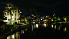 Hiroshima by night (lublud) Tags: trees reflection water japan night clouds buildings cityscape ruin hiroshima worldwarii atomicbomb abombdome citylight  hiroshimapeacememorial hiroshimapeacememorialpark  genbakudmu