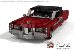 Cadillac Eldorado 1971 (lego911) Tags: auto birthday usa classic hardtop car america 1971 model lego render 71 cadillac eldorado 70s 1970s pimp 7th coupe challenge v8 cad lugnuts povray 84 pimpmobile moc ldd miniland foitsop lego911 super70ssensation lugnutsturns7…or49indogyears