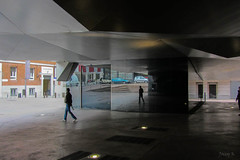 Reflecting (Jocey K) Tags: madrid people building reflections spain caixaforum archtiecture industrialarchitecture caixaforummuseummadrid