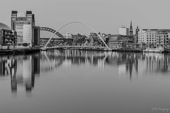 MonoTyne (whistlingtent) Tags: white black reflections river mono bridges baltic tyne