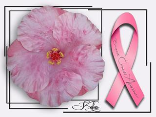 Pink tropical hibiscus BCA ribbon