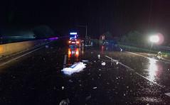 Autobahn, nach Mitternacht (alexanderferdinand) Tags: rain night highway nacht accident verkehr regen