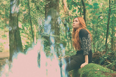 Chris (S H O I O (new profile)) Tags: light portrait sun cute green girl sunglasses fashion female forest 50mm glasses ginger daylight exposure pretty day mood moody style sunny double redhead clothes vitor alternative leo shoio