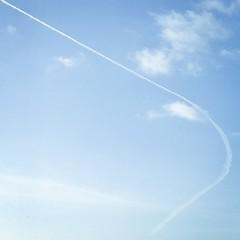 #sky #clouds #plane #blue #contrail
