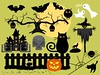 Halloween fun silhouettes and creations (ragerabbit) Tags: trees moon holiday castle halloween grass set cat fence dark pumpkin skull wings eyes funny wolf spiders stones cartoon scarecrow silhouettes illustrations owl bones ghosts creatures celebrate vector bats