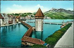 3032 R Luzern Kapellbrücke erbaut 1333 built Wasserturm u. Rigi 1800 m  sent 9.VIII.1963. (Morton1905) Tags: w luzern m r u 1800 sent built wasserturm 1963 kapellbrücke rigi 1333 verlag 3032 erbaut zimmermannsträssler