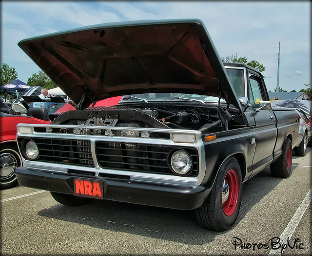 old black classic ford truck 1974 pickup f100 vehicle 74 carshow