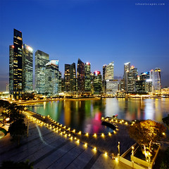 Bayfront (rh89) Tags: city blue light panorama vertical skyline architecture night marina square lights bay twilight singapore cityscape fuji view angle pano wide panoramic hour crop fujifilm format 1024 xe1 1024mm