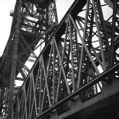"Rotterdam bridges: De ""Hef"" (martijnruff) Tags: bridge holland film netherlands architecture square blackwhite rotterdam hc110 hasselblad push ilford panf 500cm hef"