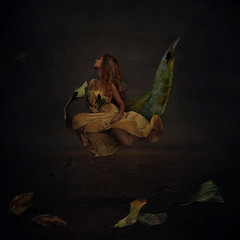 from death to dirt (brookeshaden) Tags: life selfportrait painterly fall leaves fog fairytale dark photography death leaf desert feminine fineart falling dirt strength dust conceptual barren whimsical textured yellowdress floatingleaf brookeshaden