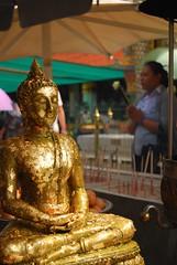 Wat Phrakaew (Paolo Rosa) Tags: statue thailand gold golden leaf bangkok pray wat watphrakaew phrakaew 2014