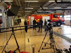 Filmning på brandstationen.