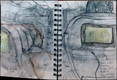 Vuelo 6250 Iberia. Entre JFK y Madrid. Las ventanas de avin.  9 de octubre, 2014. (Flight 6250 Iberia. Between JFK ad Madrid. The windows of the airplane.) (Sharon Frost) Tags: travel windows spain airplanes paintings drawings passengers sketchbooks journals iberia airtravel sharonfrost daybooks urbansketchers